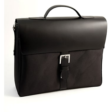 Bey-Berk Leather and  Ballistic Nylon Briefcase, Black
