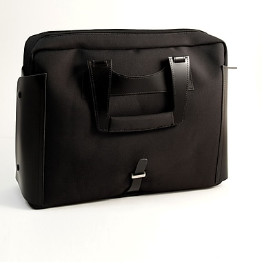 Bey-Berk BB901 Leather and Ballistic Nylon Briefcase, Black
