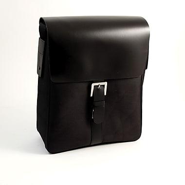 Bey-Berk Leather and Ballistic Nylon Messenger Bag, Black