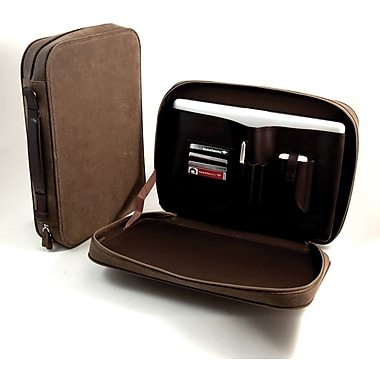 Bey-Berk Ultra Suede  and Leather Computer Carrying Case, Brown