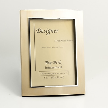 Bey-Berk Metal Picture  Frame, Sanitized Gold, 7in.(H) x 5in.(W)