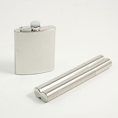 Bey-Berk 7 oz.  Stainless Steel Flask With Captive Cap Double 50 ga Cigar Holder