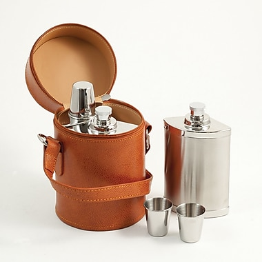 Bey-Berk Stainless Steel Flask Set With Brown Leather Carrying Case, Six Piece