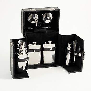 Bey-Berk Stainless Steel Bar Set With Black Leather Carrying Case With Locking Clasp
