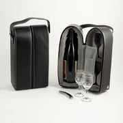 Bey-Berk Leather Wine  Caddy, Black