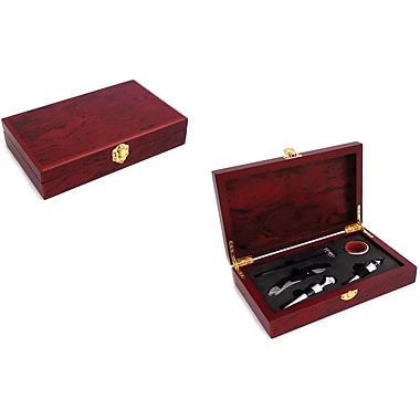 Bey-Berk 5 Piece  Wine and Bar Gift Set With Rosewood Box
