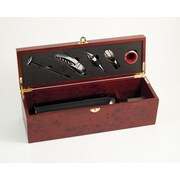 Bey-Berk Bottle Holder  With Five Piece Bar Set in Rosewood Finished Box