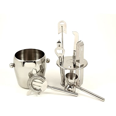 Bey-Berk 7 Piece  Stainless Steel Ice Bucket Set