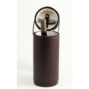 Bey-Berk Leather Wine  Caddy With Zipper Closure, Brown