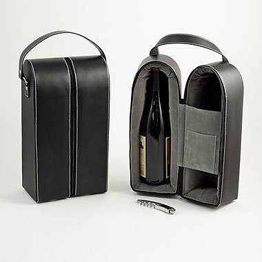 Bey-Berk Leather Wine Caddy For Two Bottles, Black
