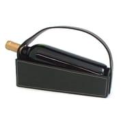 Bey-Berk Black Pebbled  Leather Wine Cradle