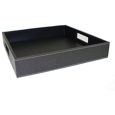 Bey-Berk Black Pebbled  Leather Serving Tray