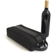 Bey-Berk Leather and  Fabric 2 Bottle Holder With Zipper Closure, Black