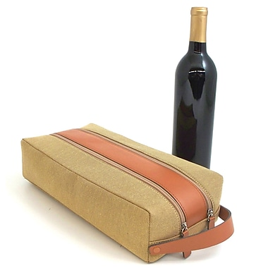 Bey-Berk Leather and Fabric 2 Bottle Holder With Zipper Closure, Khaki