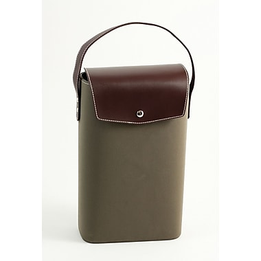 Bey-Berk Leather and  Ultra Suede 2 Bottle Holder, Brown
