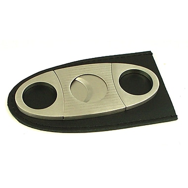 Bey-Berk Silver Plated  Stainless Steel Guillotine Cigar Cutter With Leather Pouch