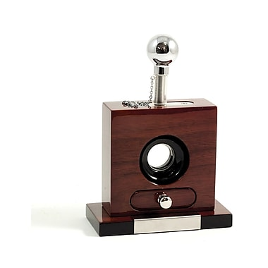 Bey-Berk Lacquered Walnut  Wood and Stainless Steel Table Top Guillotine Cigar Cutter
