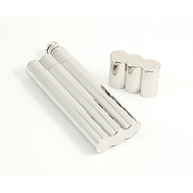 Bey-Berk Stainless Steel  Double Cigar Holder With 2 oz. Flask
