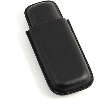Bey-Berk Leather Telescoping  2 Cigar Case, Black