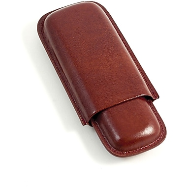 Bey-Berk Leather Telescoping  2 Cigar Case, Cognac