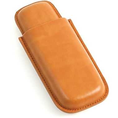 Bey-Berk Leather Telescoping  2 Cigar Case, Tan