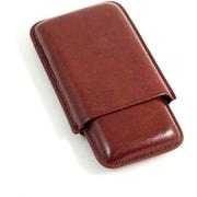 Bey-Berk Leather Telescoping  3 Cigar Case, Cognac