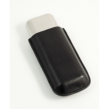 Bey-Berk 52 ga  Leather and Stainless Steel Double Cigar Holder, Black