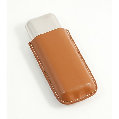 Bey-Berk 52 ga Leather and Stainless Steel Double Cigar Holder, Tan
