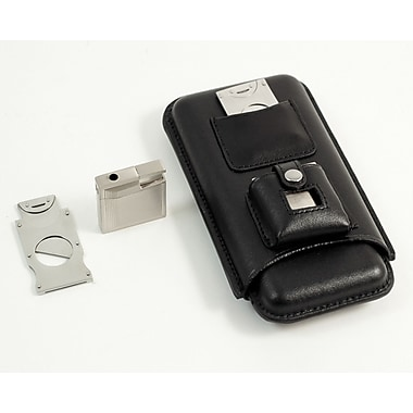 Bey-Berk Three Leather  Cigar Holder With Stainless Steel Cutter and Lighter, Black