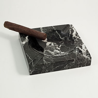 Bey-Berk Square Solid Marble Four Cigar Ashtray, Black