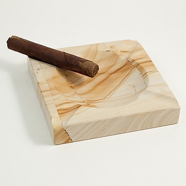 Bey-Berk Square Solid  Marble Four Cigar Ashtray, Natural