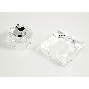 Bey-Berk Crystal Lighter  and Square Ashtray Gift Set
