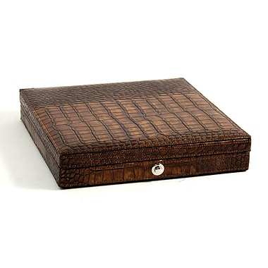 Bey-Berk Croco Debossed Leather 12 Cigar Humidor, Brown