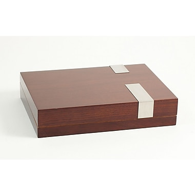 Bey-Berk Lacquered Walnut  Wood 12 Cigar Humidor