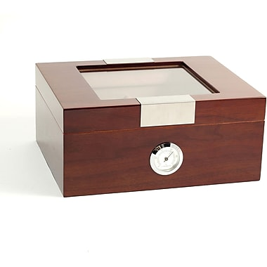 Bey-Berk Lacquered Walnut  Wood 60 Cigar Humidor