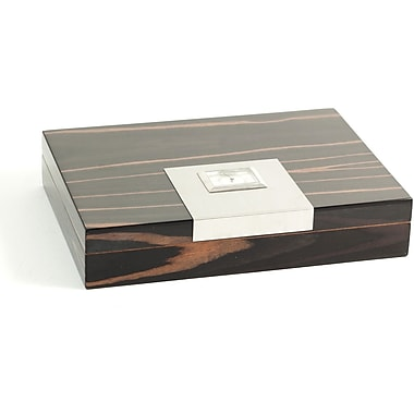 Bey-Berk Lacquered Ebony  Wood 12 Cigar Humidor