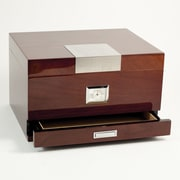 Bey-Berk C415 Lacquered Walnut Wood 60 Cigar Humidor