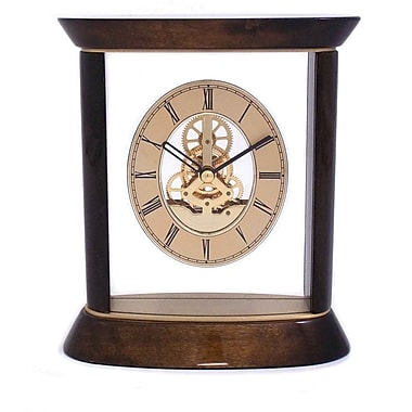 Bey-Berk Walnut Wood and Gold Plated Clock With Skelton Movement, Miami