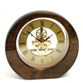 Bey-Berk Piano Finish  Walnut Wood Garni Clock With Skelton Movement