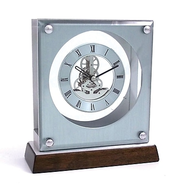 Bey-Berk Piano Finish  Walnut Wood and Stainless Steel Ani Clock With Skelton Movement