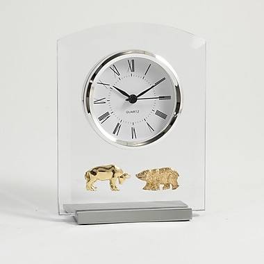 Bey-Berk Beveled Glass Quartz Clock, Stock Market