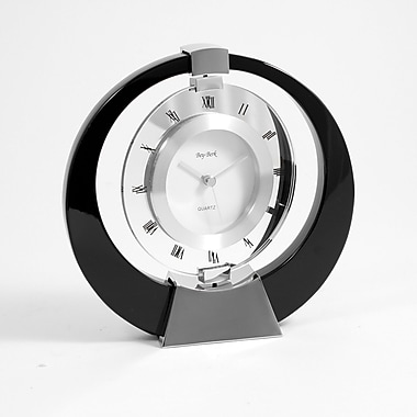 Bey-Berk Lacquered Black  Wood Revolving Clock, Singapore