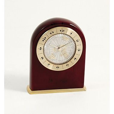 Bey-Berk Lacquered Rosewood  World Time Dial Face Clock, Marco Island