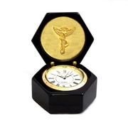 Bey-Berk Lacquered Black  Wood Stanford Clock, Chiropractor