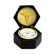 Bey-Berk Lacquered Black  Wood Stanford Clock, Dental
