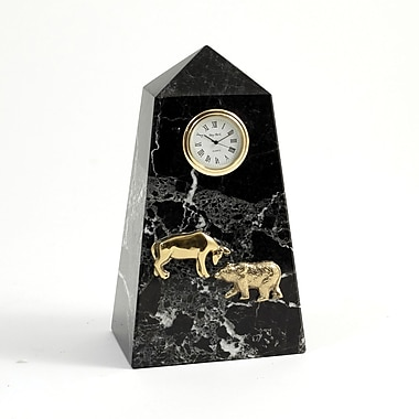 Bey-Berk Black Zebra Marble Quartz Clock, Stock Market