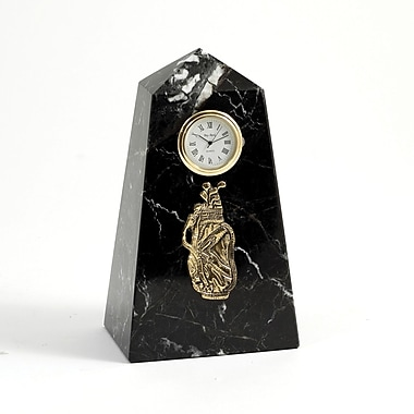 Bey-Berk Black Zebra  Marble Quartz Clock, Golf