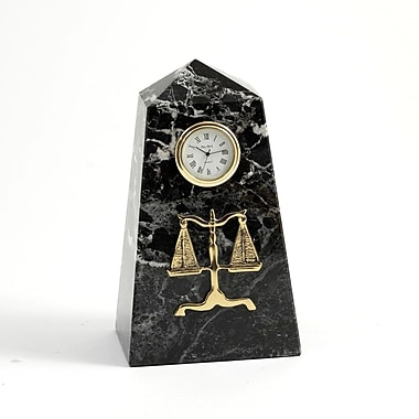 Bey-Berk Black Zebra  Marble Quartz Clock, Legal