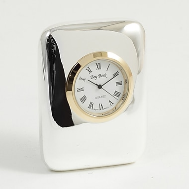 Bey-Berk Silver Plated  Chicago Quartz Clock With Gold Bezel