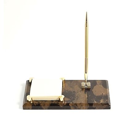 Bey-Berk Gold Plated  Memo Pad Holder With Pen, Black and Tan